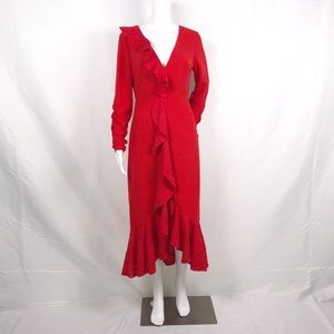 Finders Red Ruffles Plunge V-neck Fitted Midi Sz S
